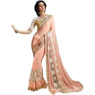 Triveni Peach Georgette Lace Saree With Blouse