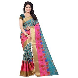 Fashions World Turquoise Cotton Floral Saree With Blouse