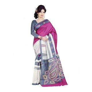 Styloce Brown Bhagalpuri Silk Printed Saree With Blouse