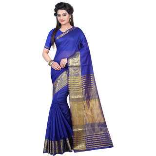 Thankar Blue  Beige Softy Cotton Designer Saree