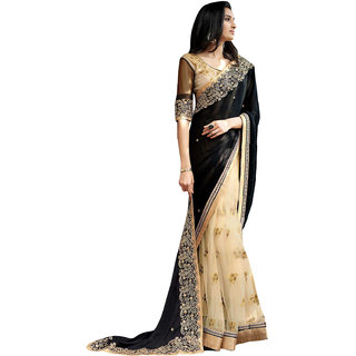 Deepfashion Black Georgette Embroidered Saree With Blouse