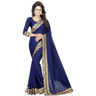 Indian Fashionista Multicolor Satin Embroidered Saree With Blouse