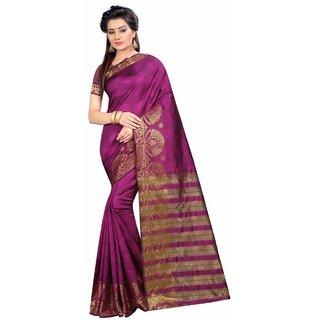 Glamorous Women's Cotton Saree With Blouse Piece