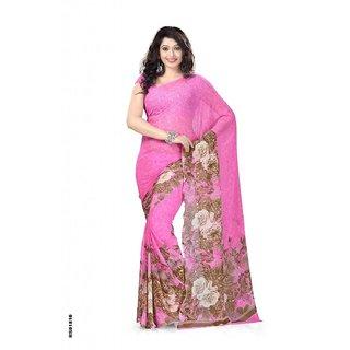 Beautiful Women Georgette Pink Saree
