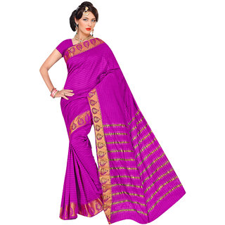 Triveni Pink Art Silk Self Design Saree With Blouse