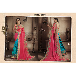 Greenvilla DesignsSky Blue And Pink Zoya Silk Embroidery Saree