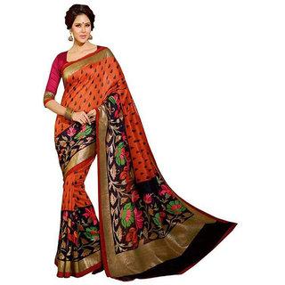 Keshvi Fashions Multicolor Bhagalpuri Silk Printed Saree With Blouse