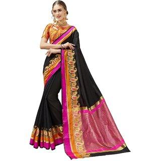 Triveni Women's Black Synthetic Woven Festival Saree