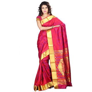 Swaron Pink Silk Printed Saree With Blouse