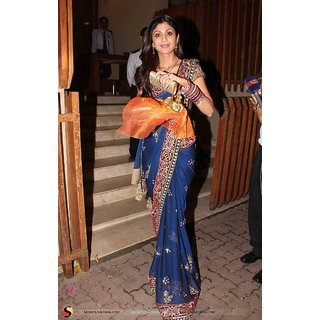 Palash fashion's blue Color embroidered chiffon Fancy Designer Saree