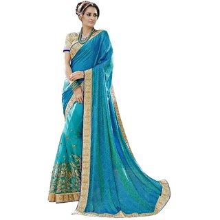 Triveni Sky Blue Art Silk Embroidered Saree With Blouse