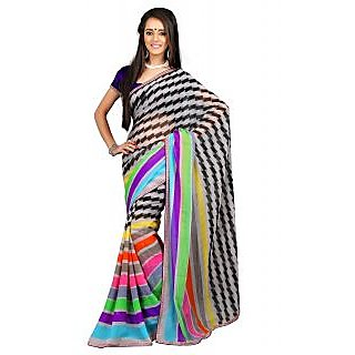 Khoobee Multicolor Chiffon Printed Saree With Blouse