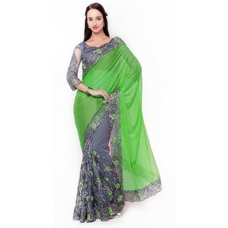 Triveni Grey Net Embroidered Saree With Blouse