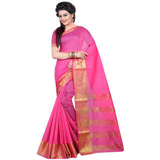 Thankar Pink  Beige Softy Cotton Designer Saree