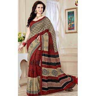 SUDARSHAN Multicolor Cotton Plain Saree With Blouse