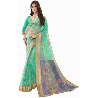 Sudarshan Silks Blue Bhagalpuri Silk Self Design Saree With Blouse