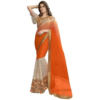 Triveni Eyecatchy Orange Colored Embroidered Chiffon Georgette Net Festival Saree TSN97068