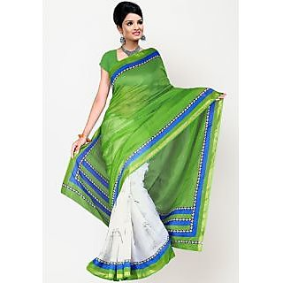 Green And White Georgette Saree