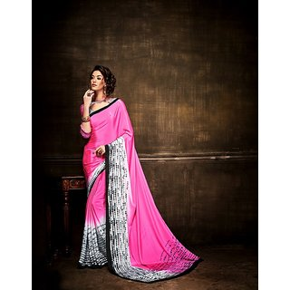 Thankar online trading Pink Crepe Printed Saree With Blouse