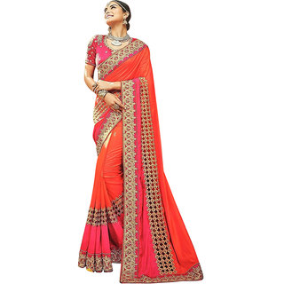 Orange Paper silk EMBROIDERY Saree with Blouse pis