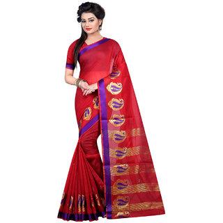 Thankar Red Purple  Beige Softy Cotton Designer Saree