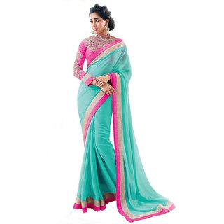 Kanak blue saree with embrodaried blouse pease