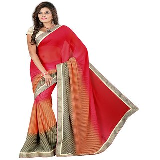 Jmilan Multicolor Printed Georgette saree With Blouse Piece
