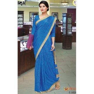SUDARSHAN ATS SAREE-Blue-MSC1626-VQ-Raw Silk