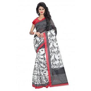 Svb S Black Bhagalpuri Silk Block Print Saree With Blouse