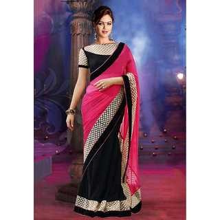 Palash fashion's Pink and Black Color embroidered Chiffon Georgette Fancy Designer Saree