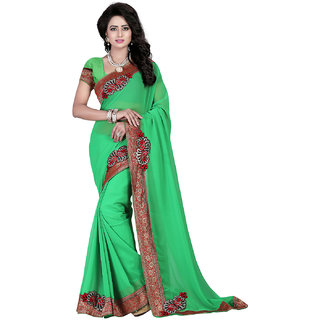 Fashiondeal Green Color Georgette Designer Saree