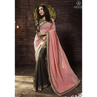 Zeel Fashion Pink Solid/Plain Saree Georgette With Blouse Piece