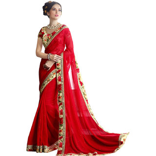 Deep FashionRed colored Printed Georgette saree