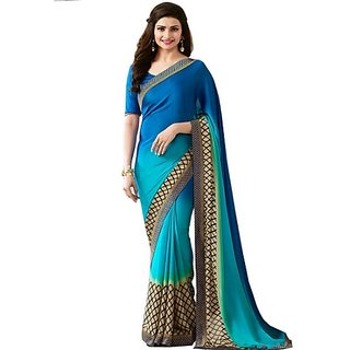 Styloce Georgette Printed Blue Color Casual Saree .STY-9239