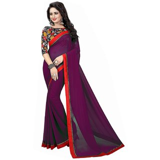 Visnu Creations Georgette Plain Saree With Blouse