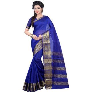 Thankar Blue  Beige Softy Cotton Designer Saree