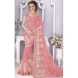 SUDARSHAN Pink Raw Silk Plain Saree With Blouse
