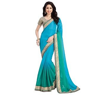 Swaron Green & Blue Chiffon Plain Saree With Blouse