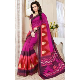 SUDARSHAN Pink Cotton Plain Saree With Blouse