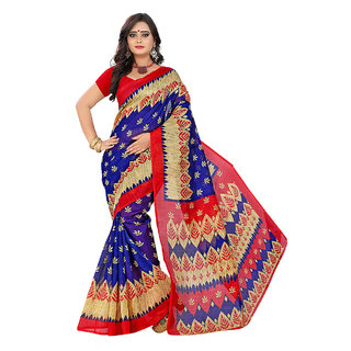 Red  Blue Bhagalpuri Printed Casual Saree With Blouse Pis