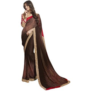 Triveni Elegant Brown Colored Printed Faux Georgette Casual Wear Saree TSNSY31036