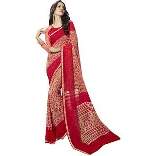 Triveni Astounding Beige Colored Printed Faux Georgette Saree TSNBL1611