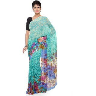 RK FASHIONS Green Georgette Party Wear Printed Saree With Unstitched Blouse - RK220142