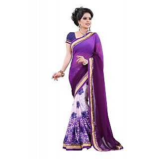 Jmilan Violet Brasso Embroidered Party Wear Saree With Blouse Piece