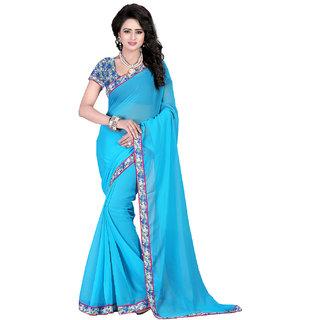 Fashiondeal Blue Color Georgette Designer Saree