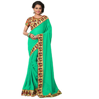 Fashiondeal Green Georgette Printed Border Saree