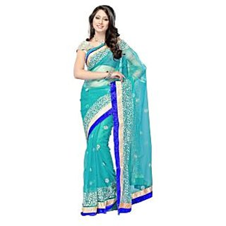 Net saree With Blouse Turquoise Colour