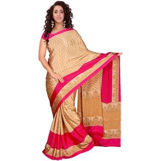 Khushali Fashion Beige Silk Printed Saree With Blouse