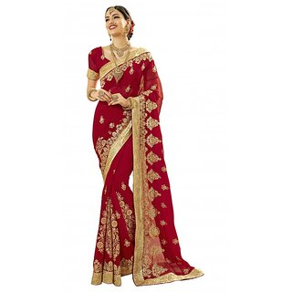 Aagaman Incredible Red Colored Embroidered Wedding Saree TSN1210