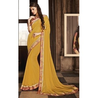 Sudarshan Silks Yellow Georgette Embroidered Saree With Blouse